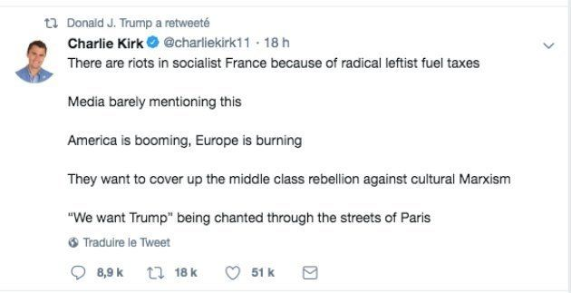 Tweet de Charlie Kirk retweeté par Donald