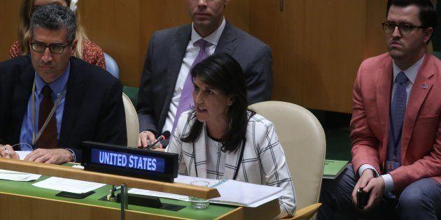 L'ambassadrice américaine Nikki Haley à l'ONU à New York le 13 juin
