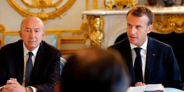 Gérard Collomb et Emmanuel Macron à l'Élysée le 3 août