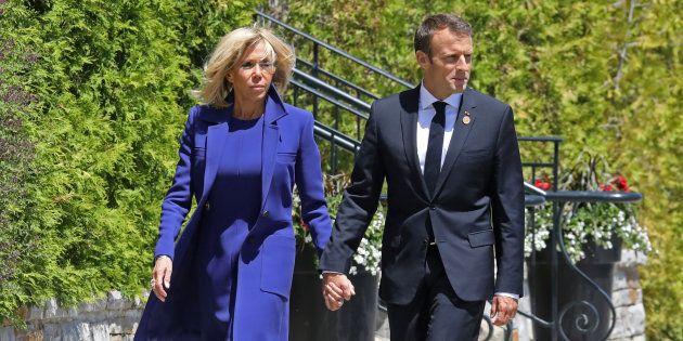 Le président Emmanuel Macron et son épouse Brigitte au sommet du G7 au