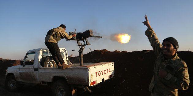 Des combattants turcs dans la région d'Afrine le 20 janvier
