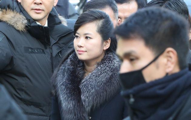Hyon Song-Wol, leader du groupe nord-coréen Moranbong, arrive à Séoul le 21