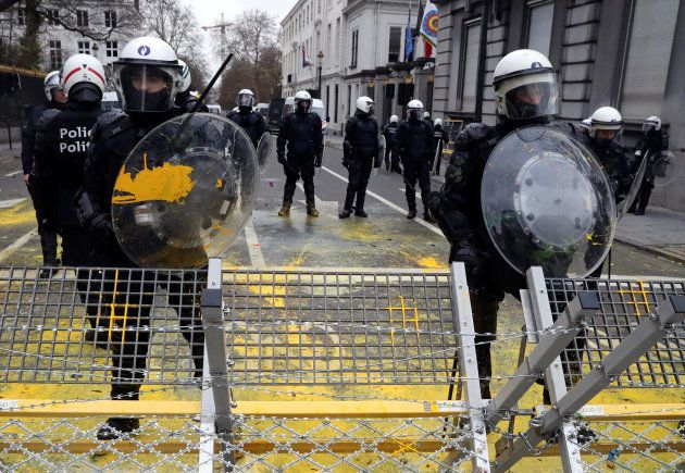 Members of riot police are seen during the