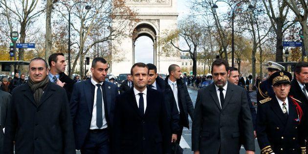 FEmmanuel Macron, Christophe Castaner, Laurent Nunez et Michel Delpuech le 2 décembre