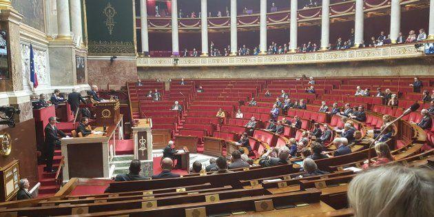 Cette photo prise des bancs du FN montre une Assemblée clairsemée à l'occasion du 55e anniversaire du...