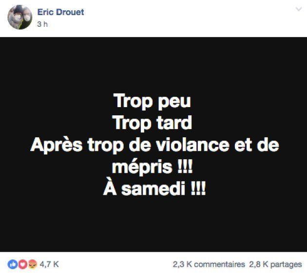 Eric Drouet réagit à l'allocution d'Emmanuel