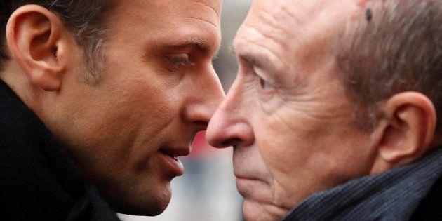 Emmanuel Macron avec le ministre de l'intérieur Gérard Collomb, le 7 janvier