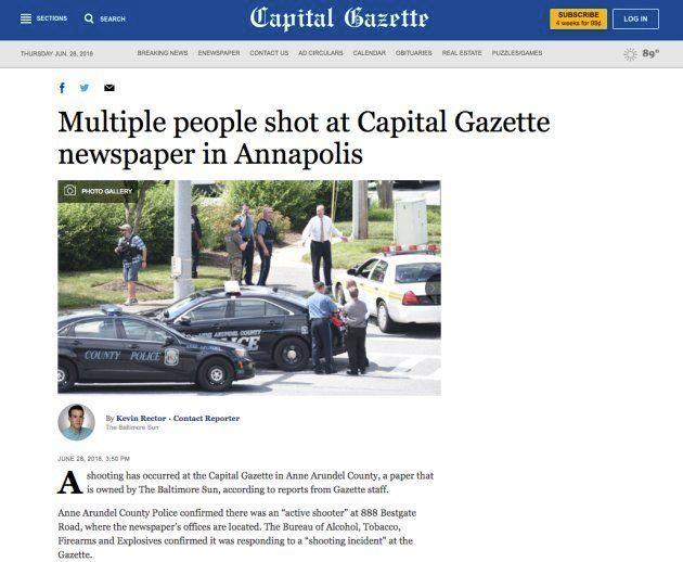 L'article du Capital Gazette, pendant la