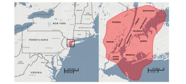 L'équivalent de la zone touchée par l'astéroïde de Toungouska, par rapport à la ville de