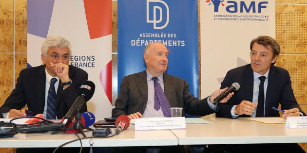 Le président des régions Hervé Morin, le président des départements Dominique Bussereau et le président...