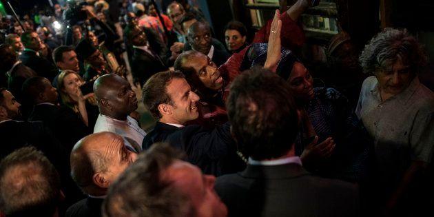 Emmanuel Macron arrivant au Shrine à Lagos le 3 juillet
