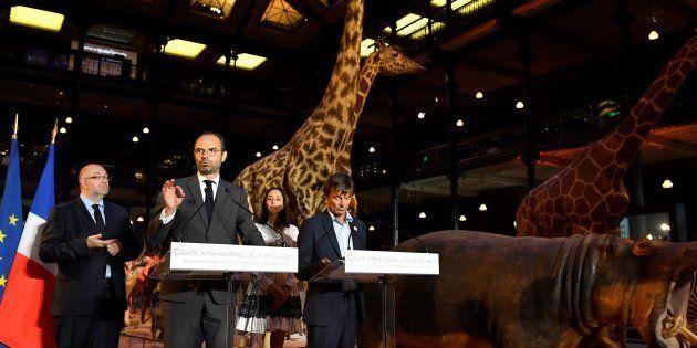 De gauche à droite, Stéphane Travert, ministre de l'Agriculture, le Premier ministre Edouard Philippe,...