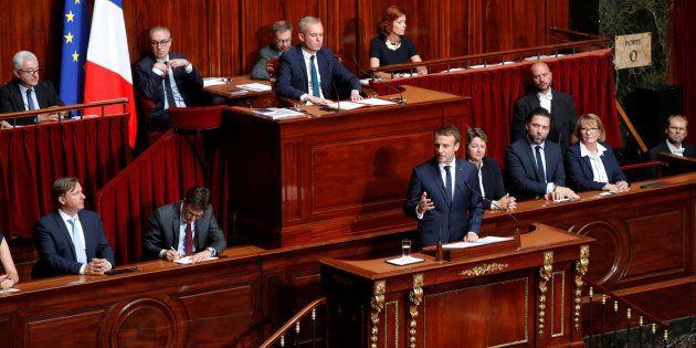 Le président Emmanuel Macron pendant son discours devant le COngrès réuni à Versailles en juillet