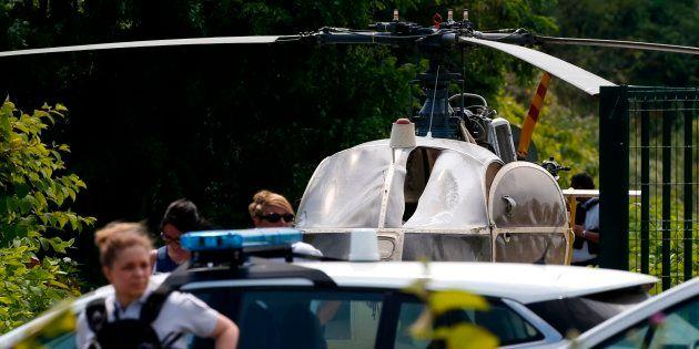 L'hélicoptère utilisé par Redoine Faïd pour s'évader de la prison de Réau, retrouvé abandonné à Gonesse,...