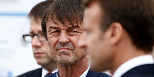 Le ministre de la Transition écologique Nicolas Hulot en déplacement avec le président Emmanuel