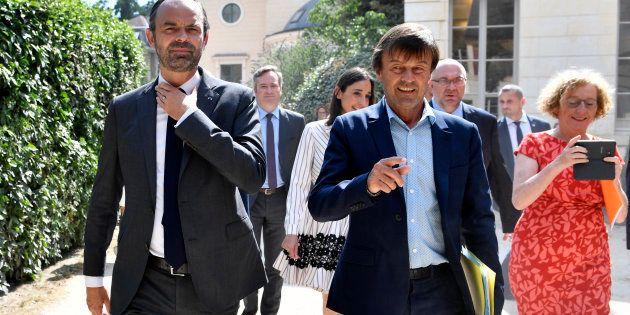 Edouard Philippe et Nicolas Hulot avant la présentation des principales mesures du plan de sauvetage...