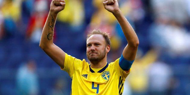 Andreas Granqvist pendant le match de Coupe du monde Suède-Suisse, le 3 juillet