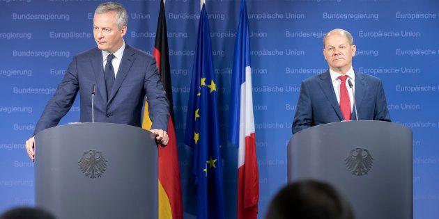 Bruno Le Maire, ici lors d'une réunion en mai avec son homologue allemand Olaf Scholz, accuse les États-Unis...