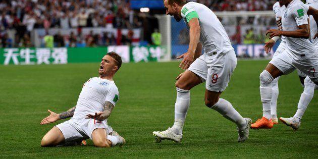 Kieran Trippier célébrant son but contre la Croatie à Moscou le 11 juillet
