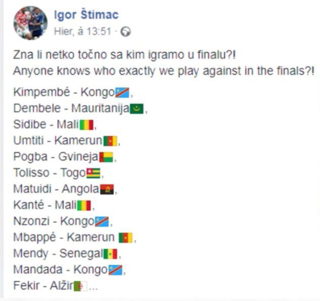 Coupe du monde 2018: l'ex-joueur croate Igor Stimac fait une sortie raciste sur le pays d'origine des...