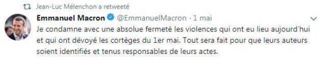 Affaire Alexandre Benalla: Mélenchon déterre ce tweet de Macron sur les violences du 1er