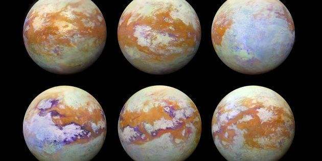 Ces six images de Titan, la lune de Saturne, ont été réalisées grâce aux observations infrarouge de la...