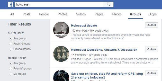 Sur Facebook, des groupes négationnistes en bonne place dans le moteur de recherche (Image