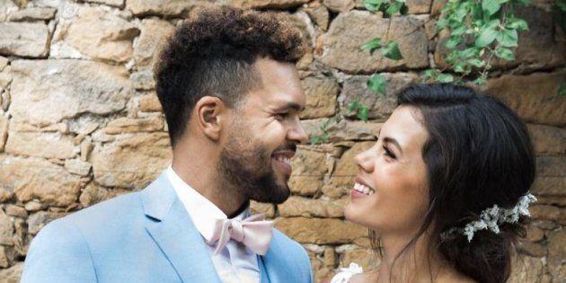 Jo-Wilfried Tsonga et sa femme, Noura El Swekh, le jour de leur mariage le 21 juillet