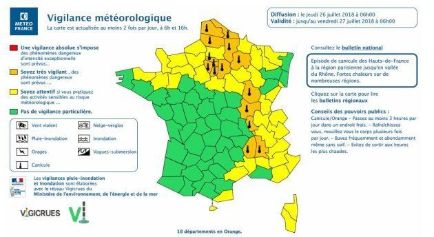 18 départements en alerte orange à la
