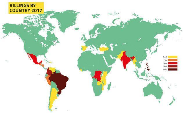 Meurtres de militants écologistes par pays en 2017, selon Global Witness