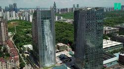 En Chine, un gratte-ciel improbable avec cascade