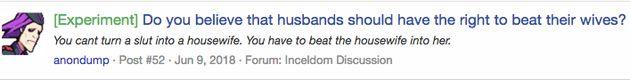 Un incel explique en quoi il estime qu'il est justifié qu'un homme batte sa femme: