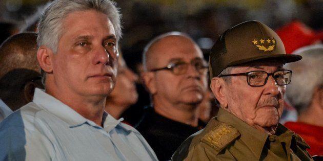 Miguel Diaz-Canel et Raul Castro à Santiago de Cuba, le 26 juillet 2018, lors des célébrations de la...
