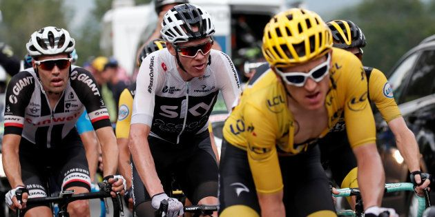 Tom Dumoulin, Chris Froome et Geraint Thomas lors de la 17e étape du Tour de France, ce 25