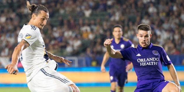Zlatan Ibrahimovic au moment de son troisième but contre le club d'Orlando ce dimanche 29