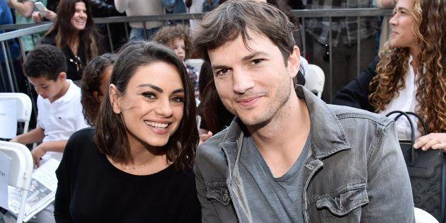Mila Kunis et Ashton Kutcher à la Zoe Saldana Walk of Fame cérémonie à Hollywood, le 03 mai