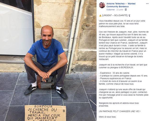 Un SDF de Bordeaux signe un CDI en moins d'une semaine grâce à la mobilisation sur