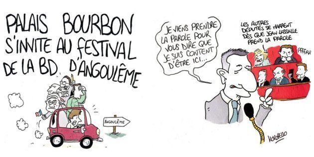 Exposé dans la permanence du député LREM de Charente à Angoulême, le dessinateur Kokopello croque les...