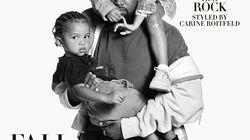 Kanye West en papa poule en couverture d'Harper's