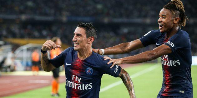 Angel Di Maria célèbre son but lors de la victoire du PSG contre Monaco dans le Trophée des