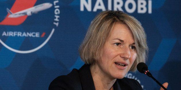 Anne Rigail lors d'une conférence de presse à Nairobi au Kenya le 26 mars