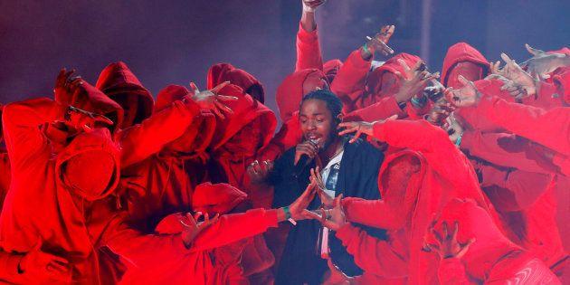Kendrick Lamar lors des Grammy Awards à New York le 28 janvier