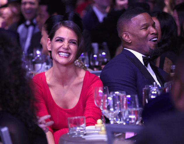 NEW YORK, NY - JANUARY 27: Actors Katie Holmes (L) and Jamie Foxx attend the Clive Davis and Recording...