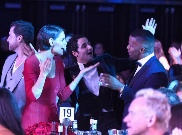 NEW YORK, NY - JANUARY 27: Katie Holmes, Zac Posen and Jamie Foxx attend the Clive Davis and Recording...