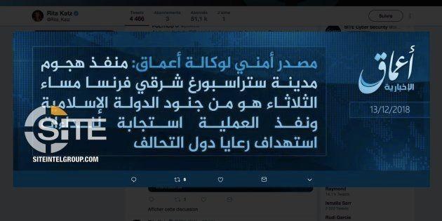 Message diffusé Daech et relayé par le site de veille des réseaux jihadistes