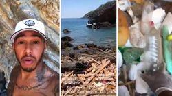 En vacances, Lewis Hamilton nettoie une plage et le fait