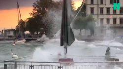 Les orages ont transformé le calme lac d'Annecy en mini océan