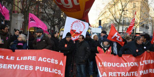Philippe Martinez à la manifestation organisée par la CGT à Paris le 14 décembre
