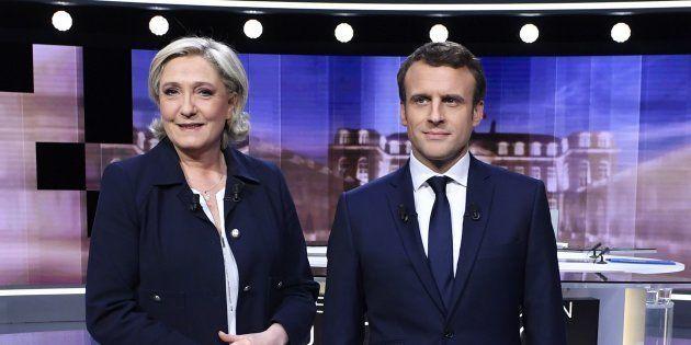 Marine Le Pen et Emmanuel Macron avant leur débat d'entre-deux-tours le 3 mai