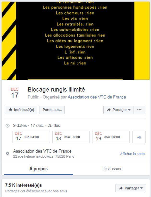 Un événement Facebook crée par les VTC pour bloquer